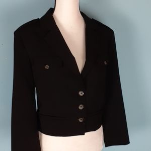 WHBM black military style cropped blazer 14 plus